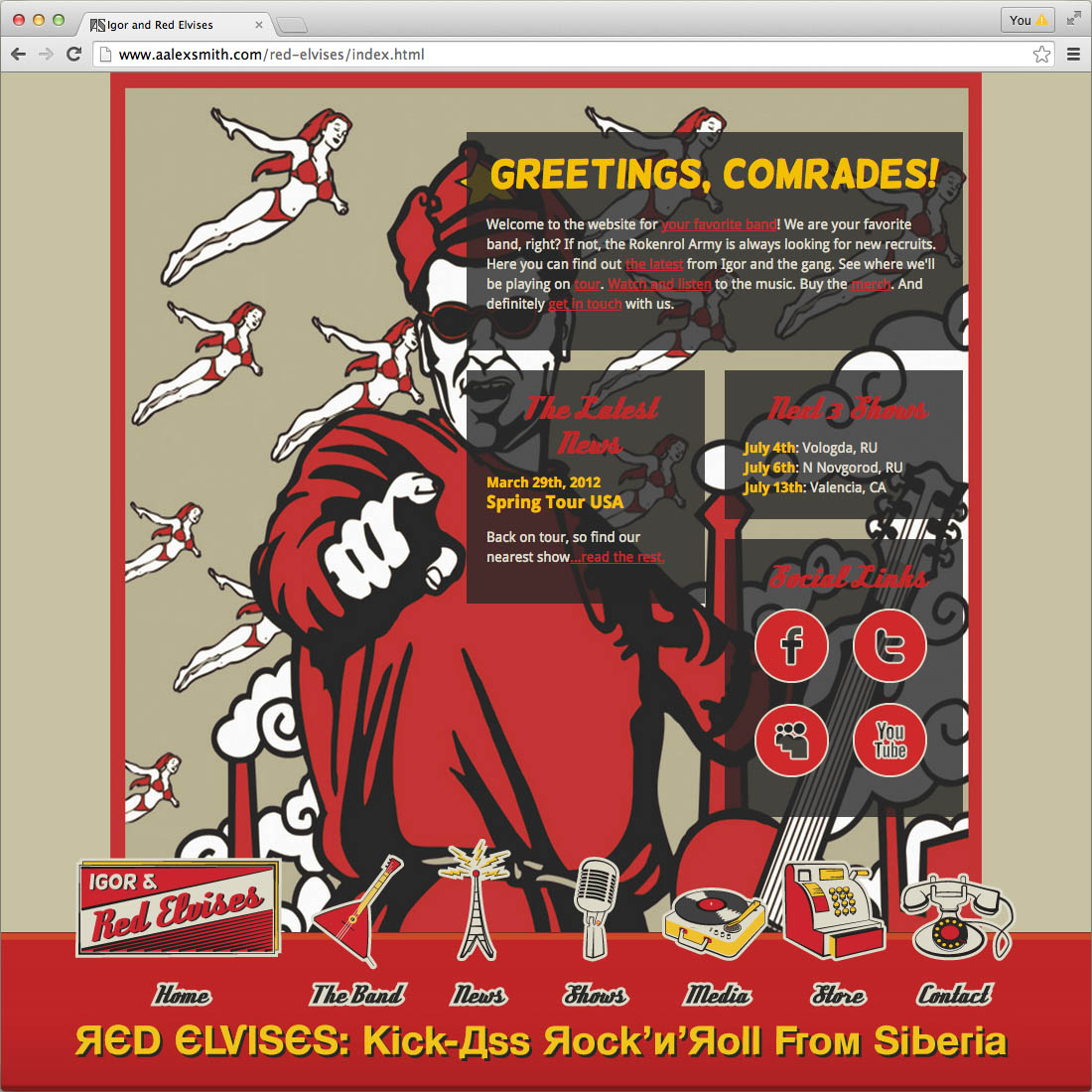 Red Elvises band website concept, home page