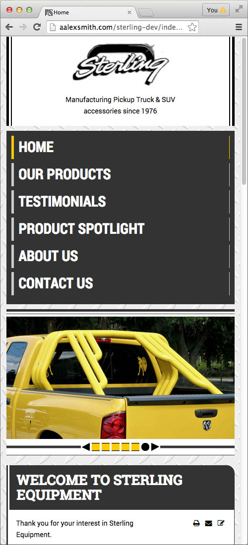 Sterling Equipment website, home page on mobile